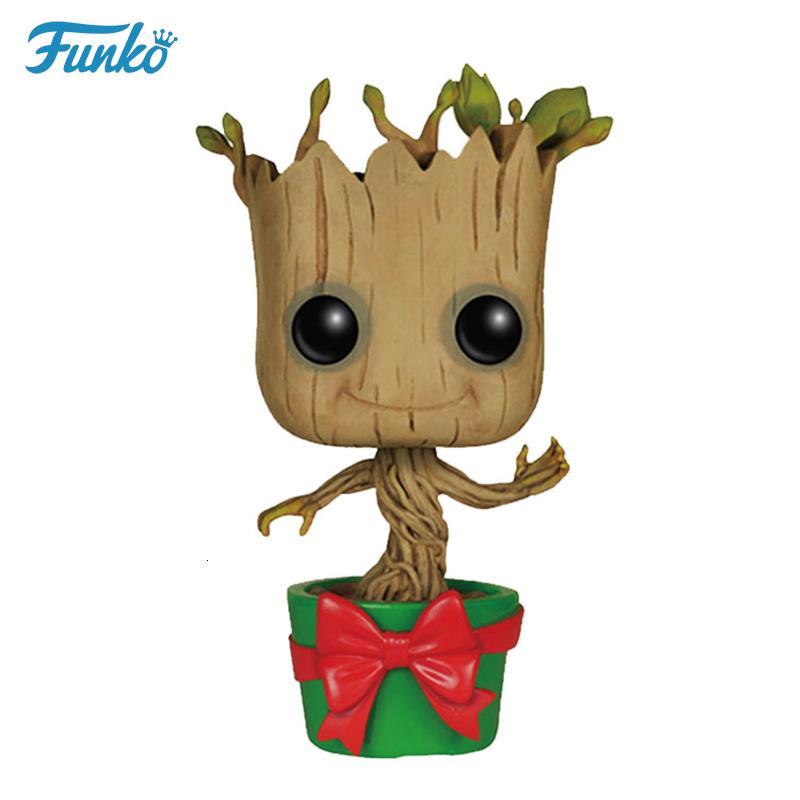 FUNKO POP! 1 pcs Marvel Guardiões da Galáxia Groot Boneca de Vinil Crianças Aniversário Surpresa de Natal Figuras Presente ActionToy SH190908