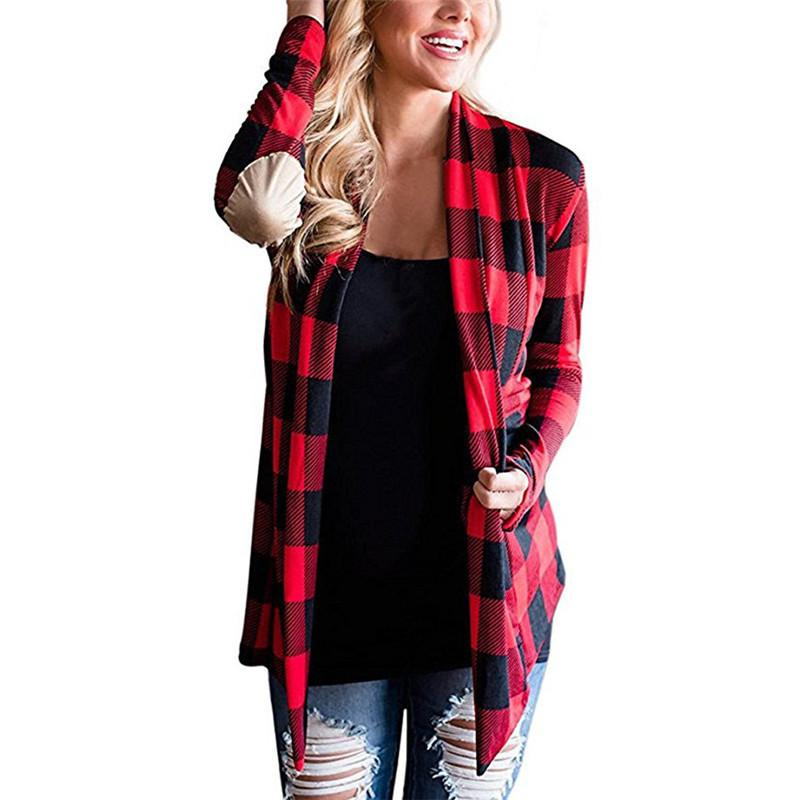Casual Knitted Cardigan Women Plaid Print Kimono Cardigans Knitting Jumpers Poncho Open Front PU Elbow Patchwork Sweater Coat T190606
