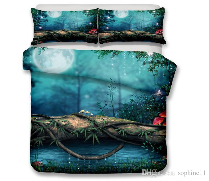 3D Scenic Bedding Set Dreamlike Scenic Printed Duvet Cover with Pillowcase Romantic Bed Set Twin Full Queen King Size