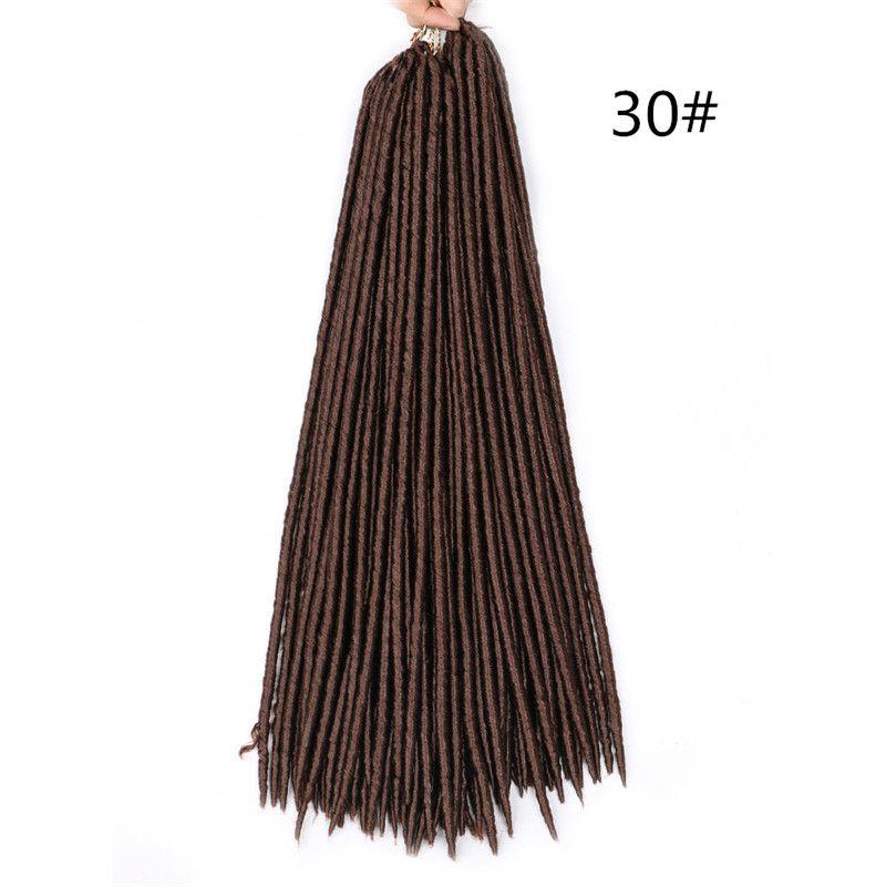 18inch 100g / pacchetto finto locs uncinetto capelli Trecce sintetica intrecciatura di estensione dei capelli afro Acconciature molle del Faux Locs Marrone Nero spessa completa