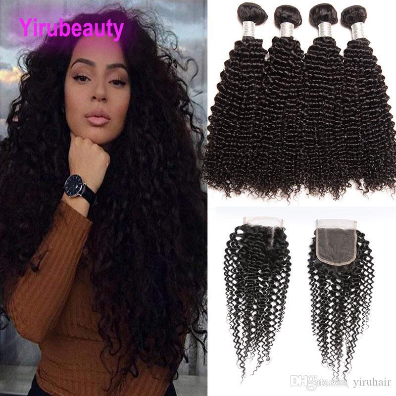 Малайзийские расширения человеческих волос с закрытием шнурка 4x4 естественный цвет кудрявый вьющиеся Yiruhair 8-28 дюймов 4 пучка с закрытием кружева