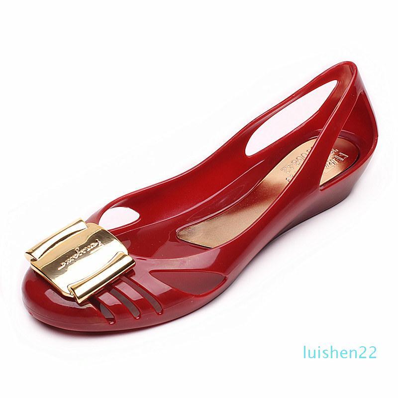 Jalea zapatos metálicos sandalias de los tacones bajos de la PU casual de playa verano otoño mujeres planas l22