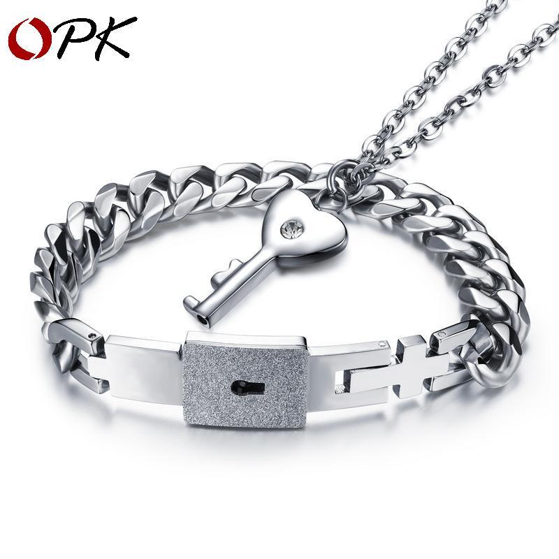 Sommer neue konzentrische sperre paar armband eine weibliche schloss titanium stahl schlüssel halskette schmuck für männer