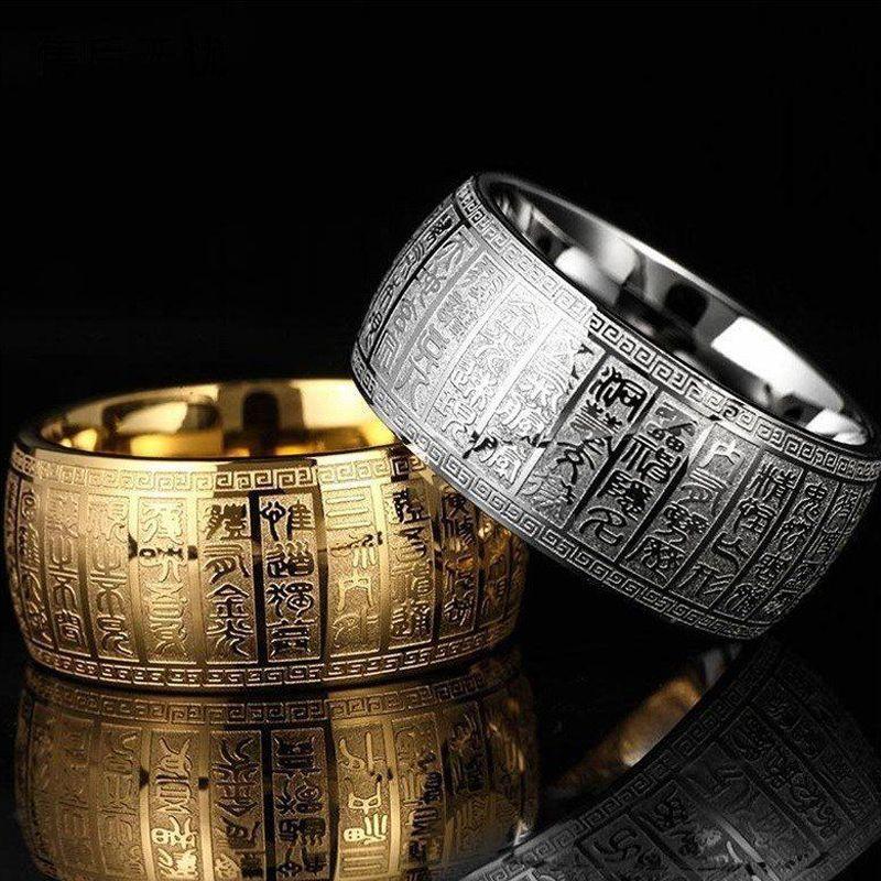 넓은 11mm 새겨진 고대 중국 불교 경전 초자연적 인 망원 링 스테인레스 스틸 골드 및 실버 엄지 반지