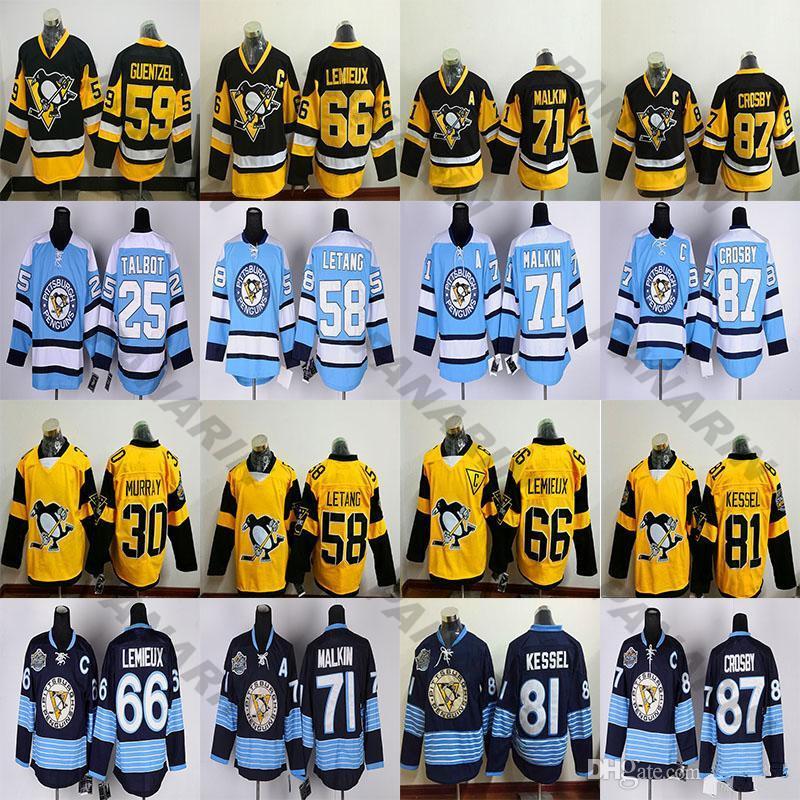 New Pittsburgh Penguins 87 Sidney Crosby 71 Evgeni Malkin 58 Kris Letang 59 Jake Guentzel 66 Lemieux 81 Phil Kessel Rbk Hockey Jerseys