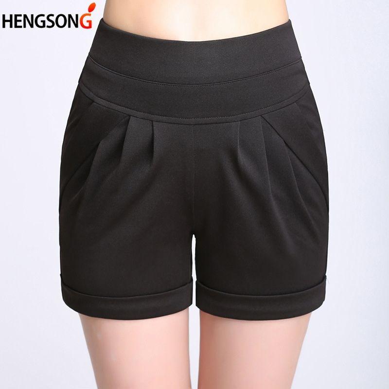 Women Beach Shorts 2020 Summer Shorts Elastic Waist Solid Draped With Pockets Black White Plus Size