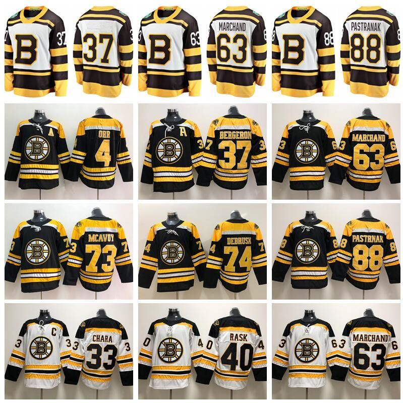 2019 겨울 클래식 보스턴 Bruins Hockey Zdeno Chara Patrice Bergeron Jersey Brad Marchand David Pastrnak 40 Tuukka Rask 46 David Krejci Man