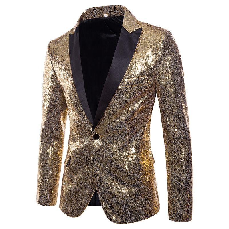 Ouro Lantejoulas Smoking Homens Blazer Palco Disco Boate Mens Blazers Terno Jaqueta Slim Fit Um Botão Brilhante Glitter Blazer Masculino