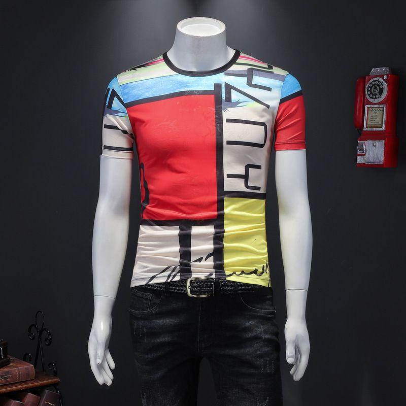 Im europäischen Stil Kurzarm-T-Shirt für Männer Slim-Fit lässig gedruckten Halbhülse stilvollen personalisierte Körper