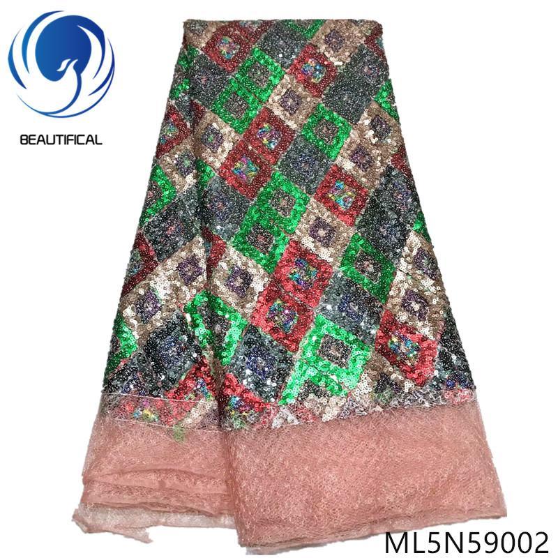 BEAUTIFICAL telas de encaje nigeriano lentejuelas multicolores cordones netos telas Venta caliente tela de encaje africano 5 yardas / lote ML5N590