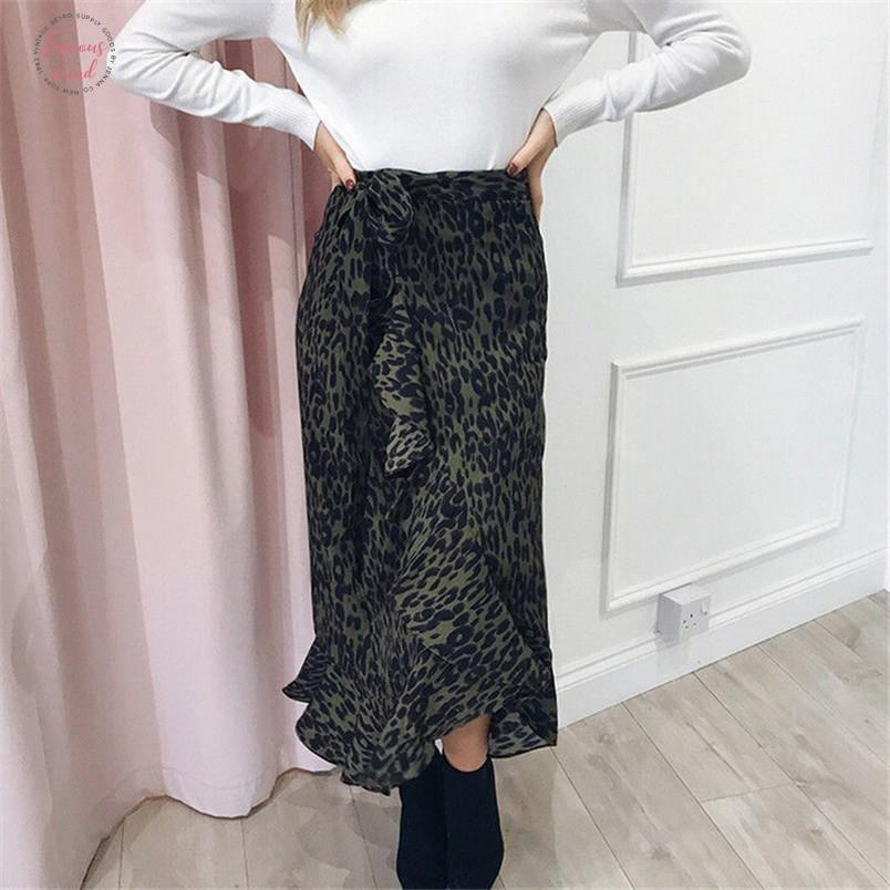 High Waist Boho Leopard Printed Long Skirt Women Ruffles Maxi Skirts Beach Holiday Skirts Female Chic Vintage 2019 Summer