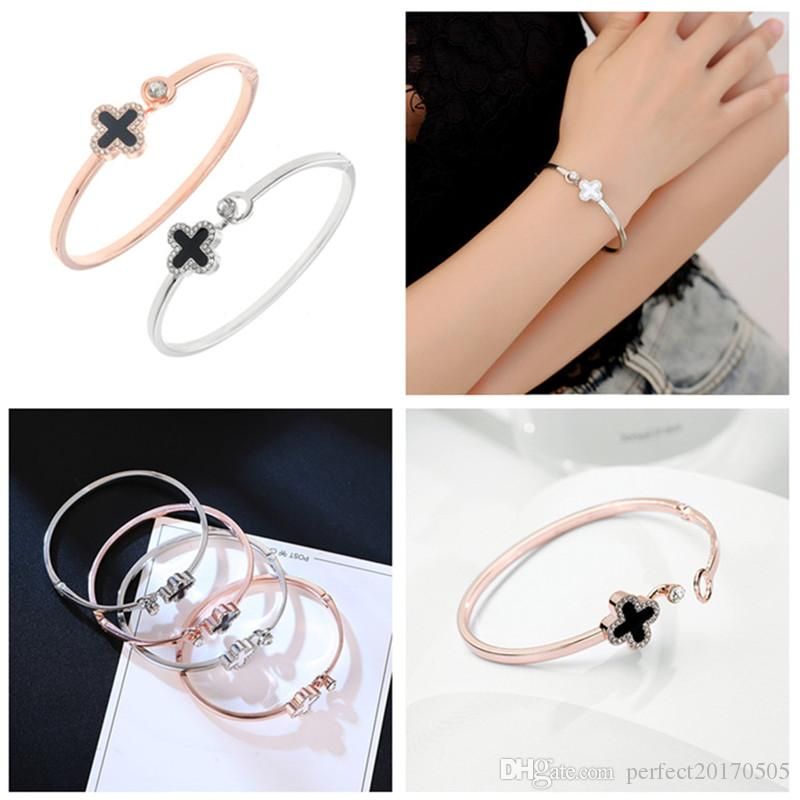 Crystal Four Leaf Clover Bracelets bangle Cuff Letter Love Charm Diamond Inspirational Jewelry for Women Girls Lucky Gift Drop Shipping