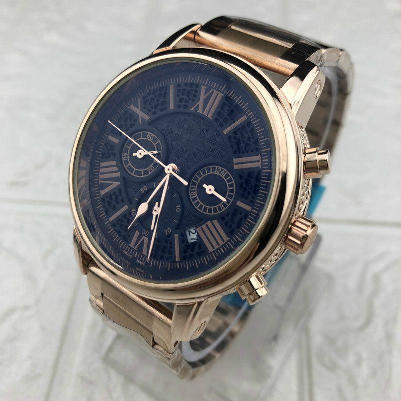 Erkekler Yeni Lüks altın hakiki kuvars saatler su geçirmez otomatik saatler çelik çift takvim iş rahat Saat işlemeli yok