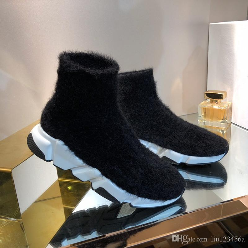 mid-top batida Designer Sneakers en maille trecho velocidade trainer preto Tan velocidade homens tênis treinador meias Casual plataforma Sapatos Runners sho