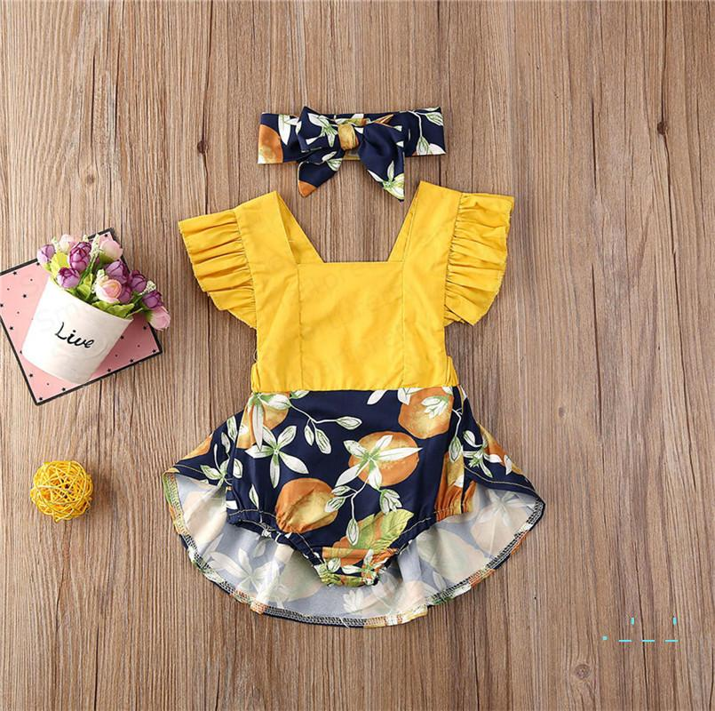 70-100cm Girls Romper Dress Baby Coveralls with headband Hair Wraps Halter Skirt Ruffled Sleeves Jumpsuits Bodysuits Two Pieces Set E33002