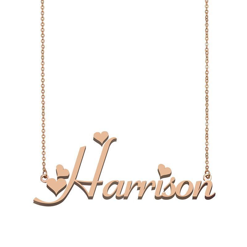 Harrison Namenshalsketten-Anhänger für Frauen Freundin Geschenke Individuellen Typschild Kinder Best Friends Schmucksachen 18k Gold überzogener Edelstahl