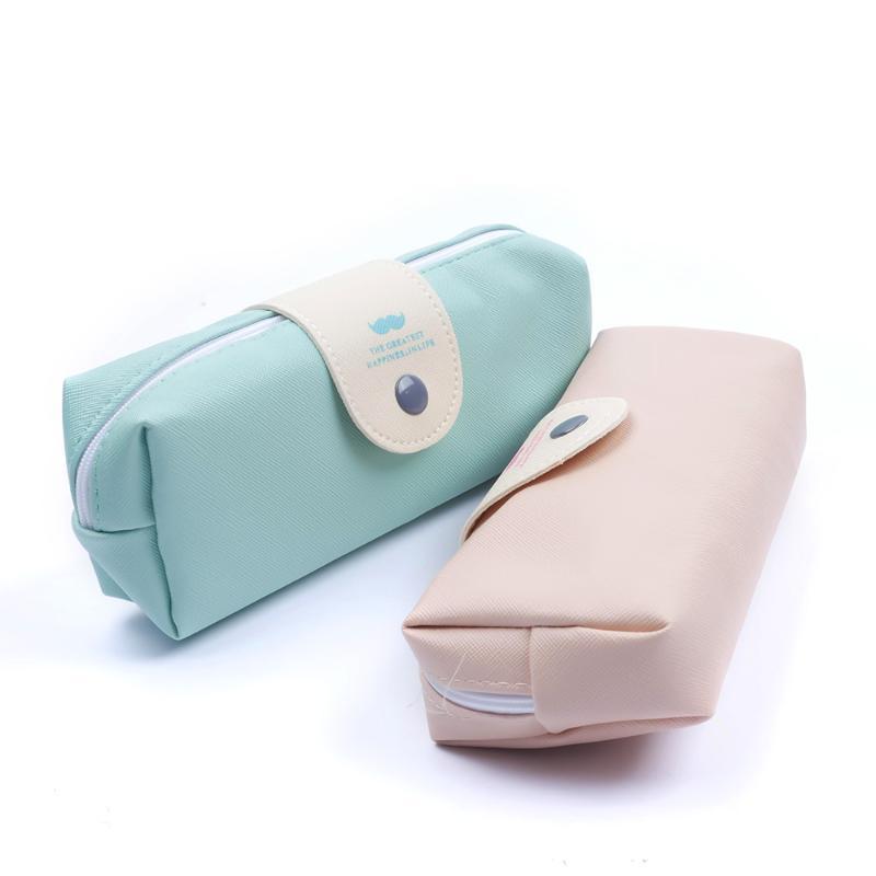 PU женщин Cosmetic Bag Сплошной цвет Портативный прочный чехол большой емкости Zip макияж Box Case сумки