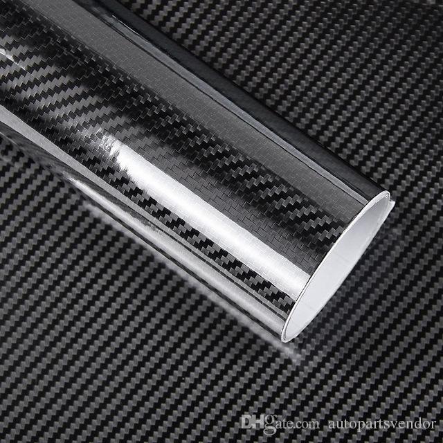 1 Pc 50 * 200cm 검정 5D 탄소 섬유 비닐 필름 자동차 포장 필름 5D 롤 자동차 스티커 자동 스포츠 외부 부속품 필름
