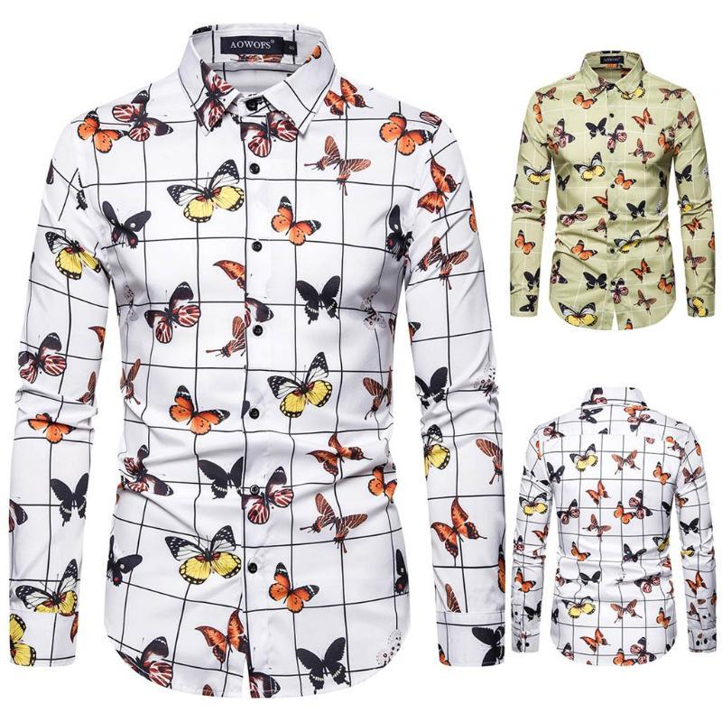 2020 Fashion Plaid Print Shirt Men Animal Butterfly Print Slim Fit Long Sleeve Shirt Gentleman Autumn Tops Camisa Masculina