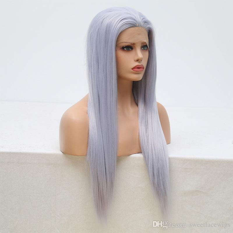 Grey Long Straight Synthetic Lace Front Wig Heat Resistant Natural Fashion Wigs Synthetic Lace Front Wig High Temperature
