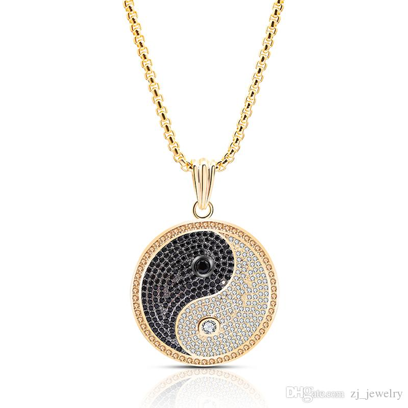 2019 New Chinese Style Yin Yang Tai Chi Pendant Necklace Copper Zircon Jewelry Gold Silver Color Neutral High Quality Necklace