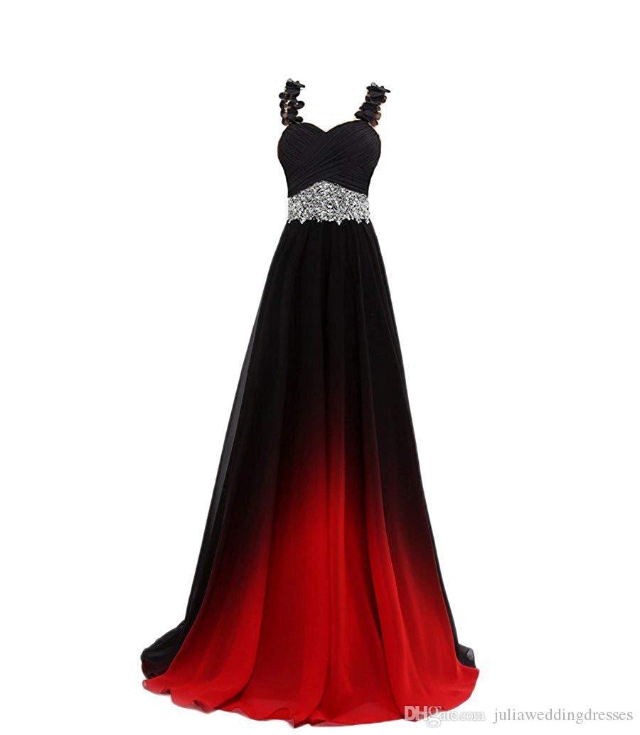 New Sexy 2019 Ombre Crystals Beaded Top Gradient Prom Dresses Gradient Backless Chiffon Homecoming Gown Cocktail Evening Party Gown QC1382
