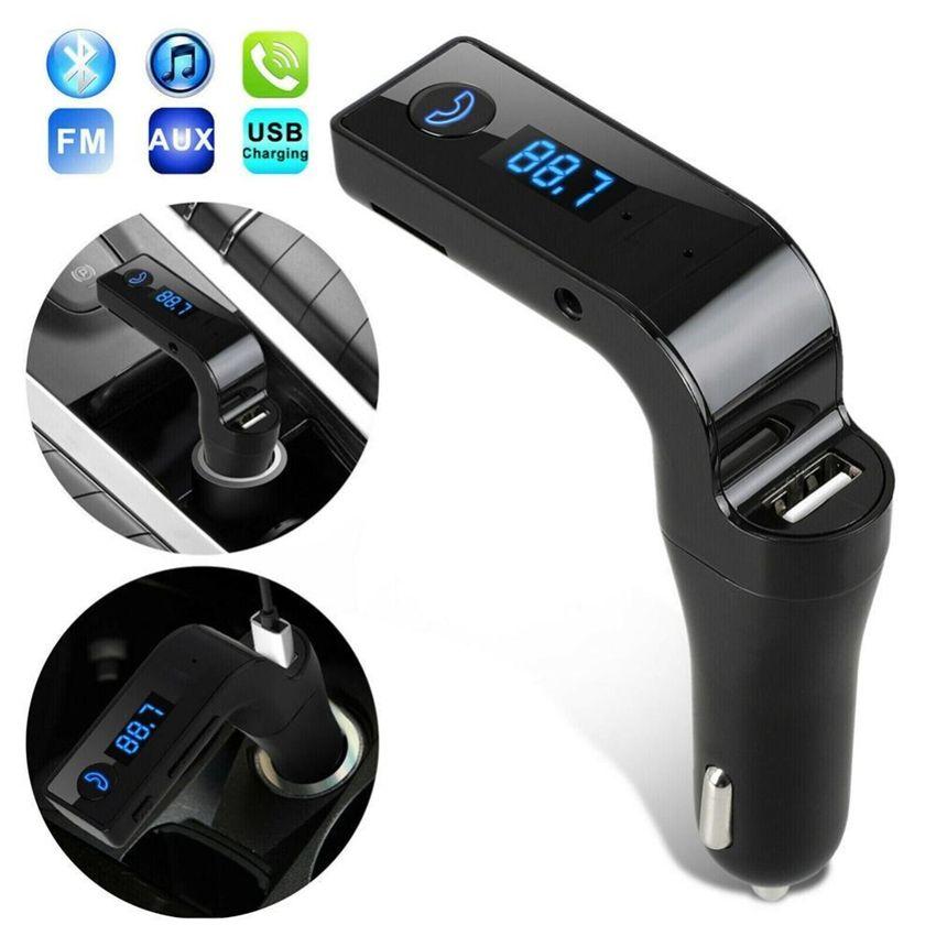 سيارة G7 سيارة كيت اللاسلكية حر اليدين العرض LCD 4 في 1 بلوتوث FM الارسال AUX المغير عدة السيارة لاعب MP3 2.1A نقطة دخان هول