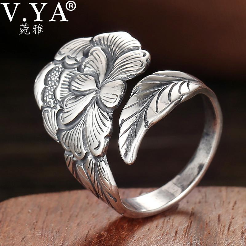 V.Ya 2.3CM Peony Fiore Anello regolabile per le donne reali argento 925 Belle gioielli femminili Anelli Regalo di compleanno V191220 V191220