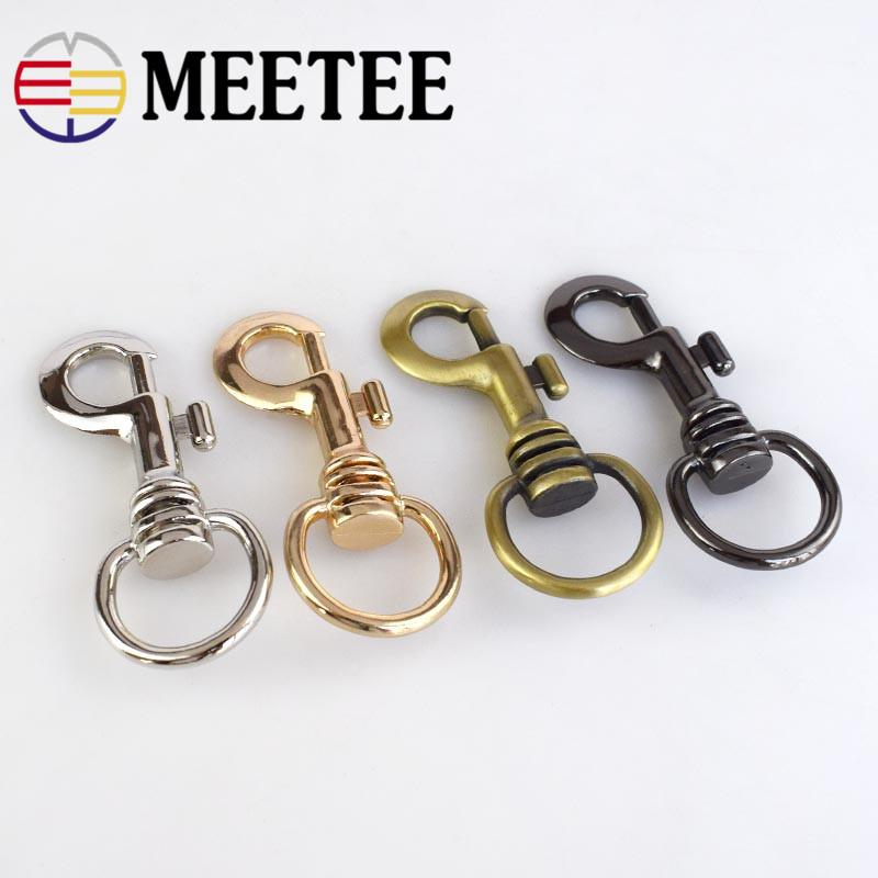 Meetee 5pcs Metal Swivel Trigger Lobster Clasp Snap Hook Key Chain Ring Dog Collar Metal Buckle DIY Backpack bag holder Parts AP482