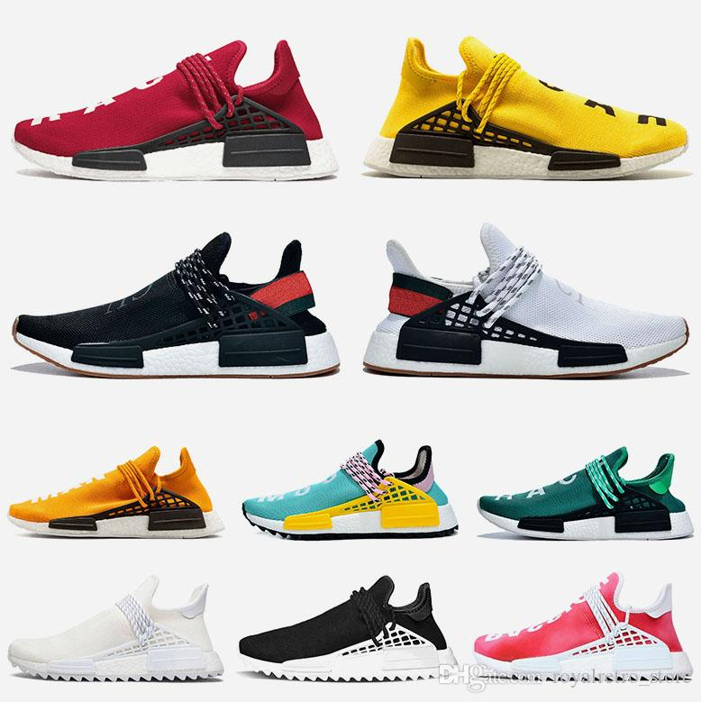 NMD Human Race Trail Running Shoes For Men Women Pharrell Williams Runner Yellow Black White Red Grey Mens Trainers Sport Sneaker Size 36-47