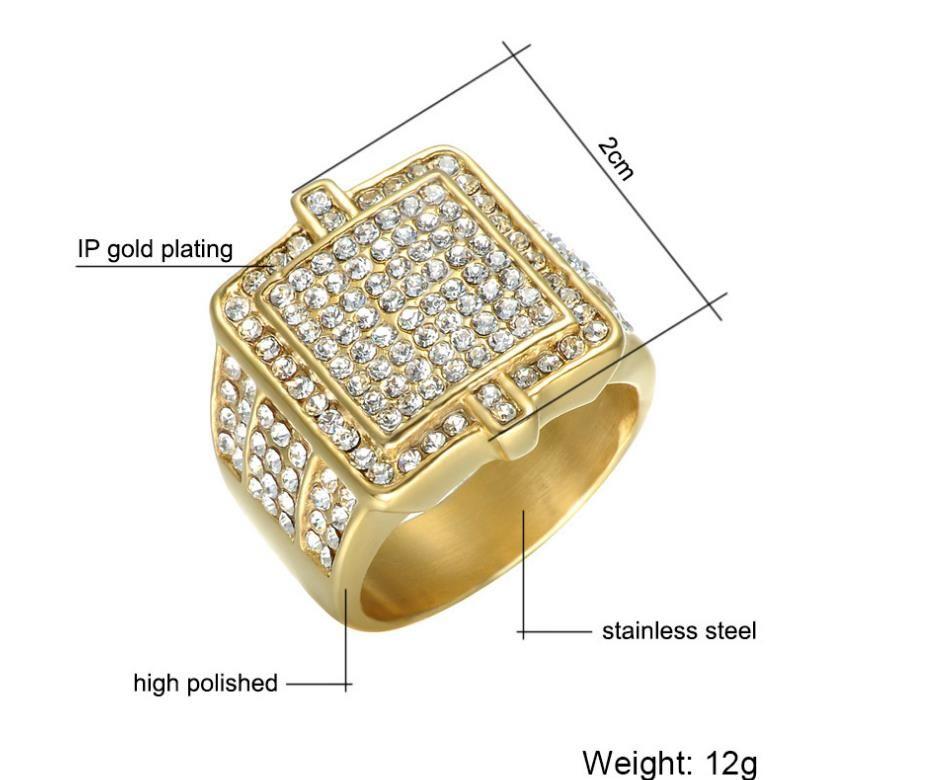 Взрывной европейской и американской моды привлекательный высокого качества из нержавеющей стали ювелирные изделия титана стали Алмаз роскошные хип-хоп мужские кольца