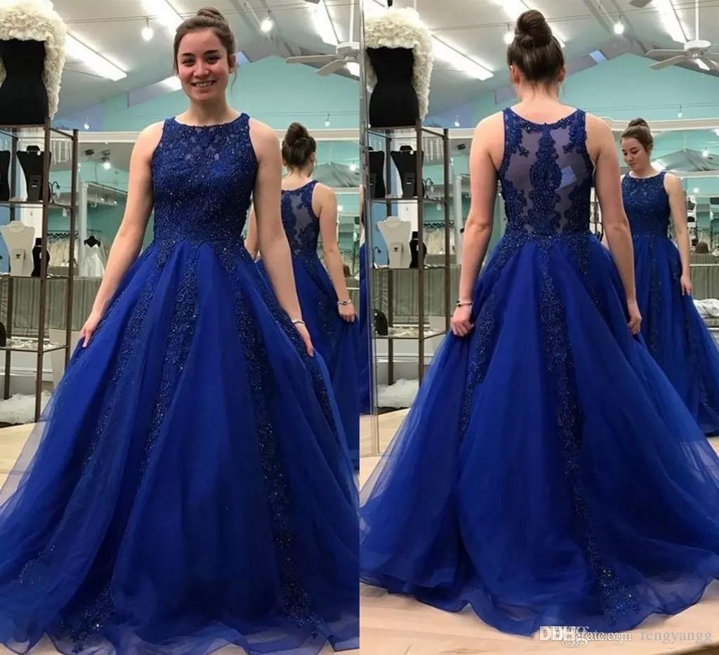 Vestido Madrinha De Casamento Azul Royal Lace Vestidos De Noite Frisada Applique Custom Made Pescoço Da Colher Sweep Trem Tulle Formal Prom Party