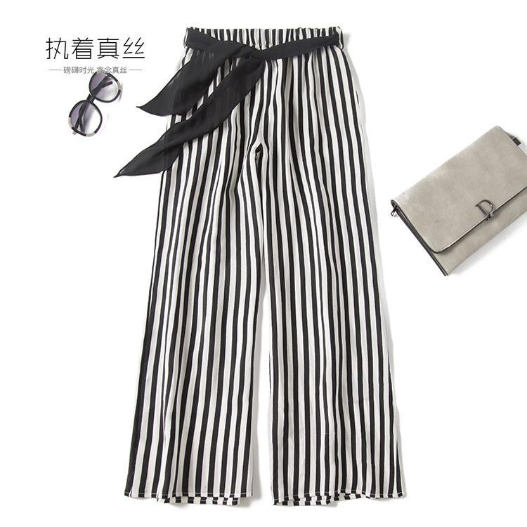 New European station mulberry silk black and white vertical stripe high waist bow casual pants wide leg pants