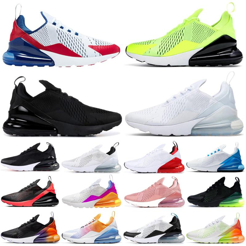2020 nike air max airmax 270 hommes femmes chaussures de course triple noir blanc arc-en-ciel Bred Photo Bleu Université Rouge mens respirant formateur baskets de plein air
