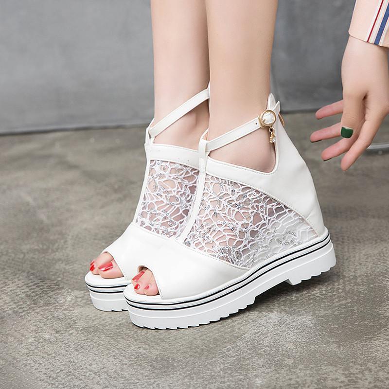 2019 صيف شبكة الرباط الكاحل أحذية للمرأة اللمحة تو الوتد منصة الكعب الكاحل الشريط النسائية والأحذية الصيف بالاضافة الى حجم