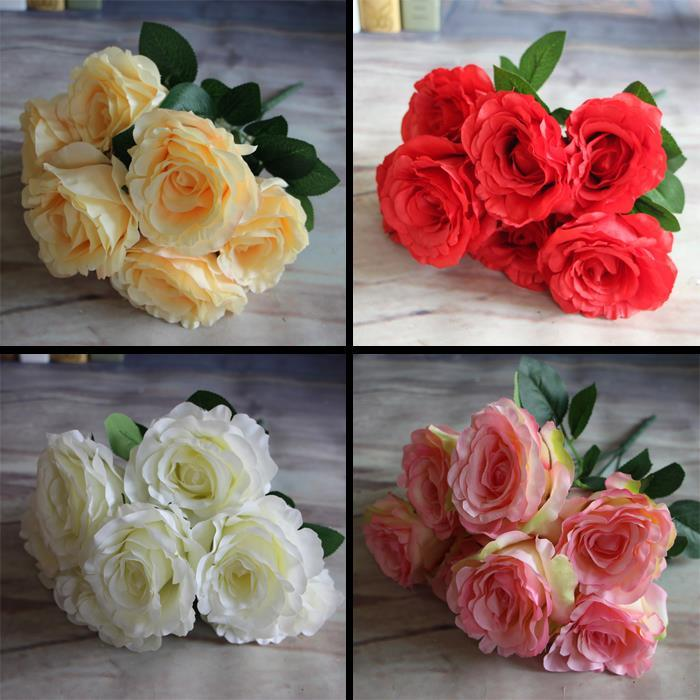 7-Branches Spring Artificial Fake Silk Rose Flowers Cafe Room Table Decor