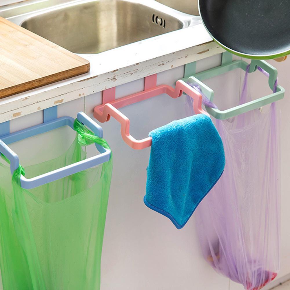 Pieghevole creativo Hanging spreco del sacchetto di immondizia Holder Rack Holder Cupboard Cabinet Door Hanger bagagli Spazzatura sacchetto per cucina