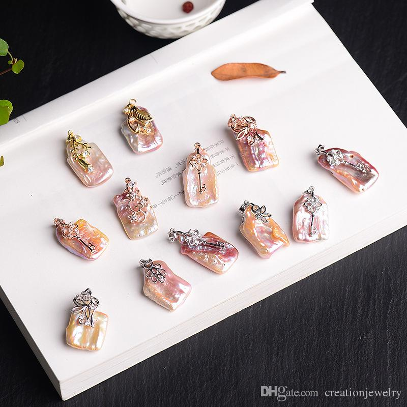 Benzersiz Doğa Tatlısu Düzensiz Büyük Barque İnci Kolye Kolye Kadınlar için 925 Ayar Gümüş Zincirleri ile Moda Inci Takı Düğün
