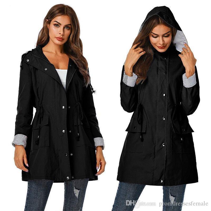 Womens Designer Trench Coat Fashion Zipper Waterproof Hooded Outerwear Winter Womens Patchwork Coat