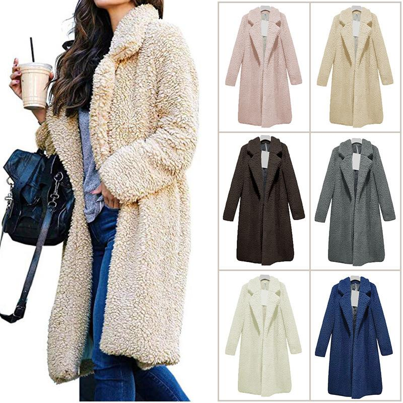 Women Long Plush Coats Winter Fleece Lapel Neck Coat Fashion Wool Cardigan Coats Casual Solid Color Women Outerwear GGA2533