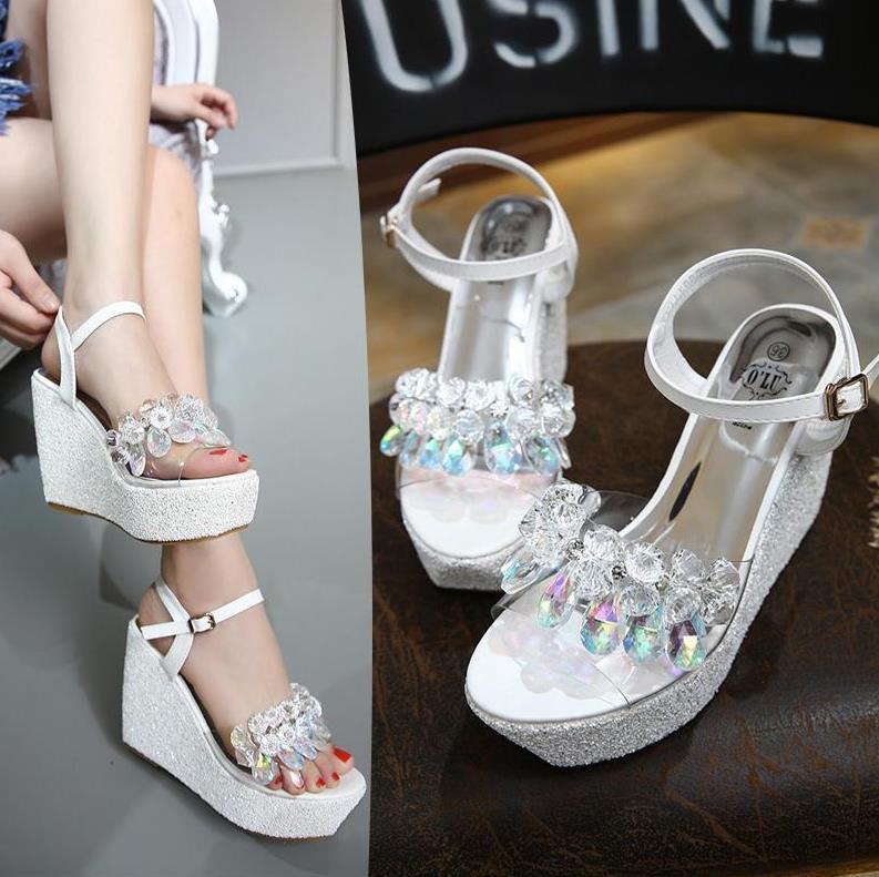 Os mais recentes Cruz Amarrado transparentes Glitter lantejoulas de ouro de prata do casamento Sapatos Mulheres High Heel Plataforma Wedge Sandals Tamanho 34 a 39