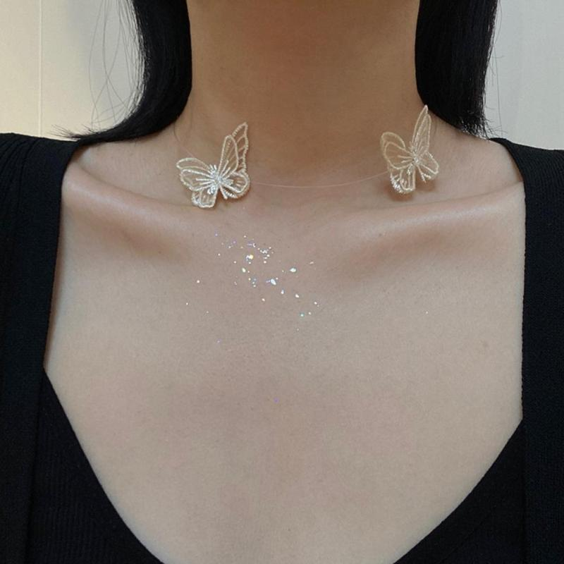 2020 Chic Korea Butterfly Necklace Choker Cute Embroidery Elegant Women Clavicle Chain Necklace Lace cutout short chocker