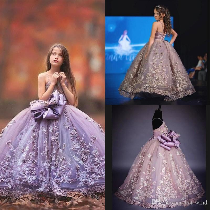 Luxury Flower Girls Dresses with 3D Floral Applique Spaghetti Strap Fashion Fluffy Detachable Bow Ball Gown for Birthday Wedding