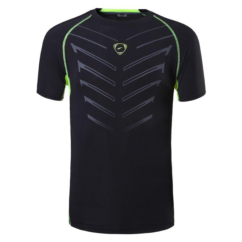 jeansian Esporte Tee camisa dos homens Camiseta T-shirt Tops executando Workout Fitness Gym manga curta Dry Fit LSL189 Preto