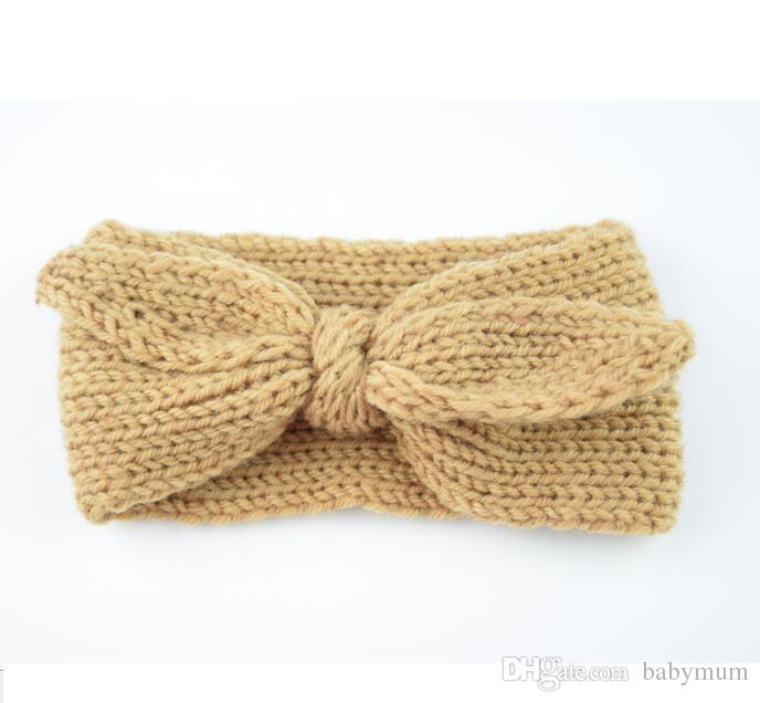 Rabbit Bow oreille bébé tricot fille 2019 chaud tricot Bandeau enfants automne hiver Turban filles Crochet Accessoires cheveux