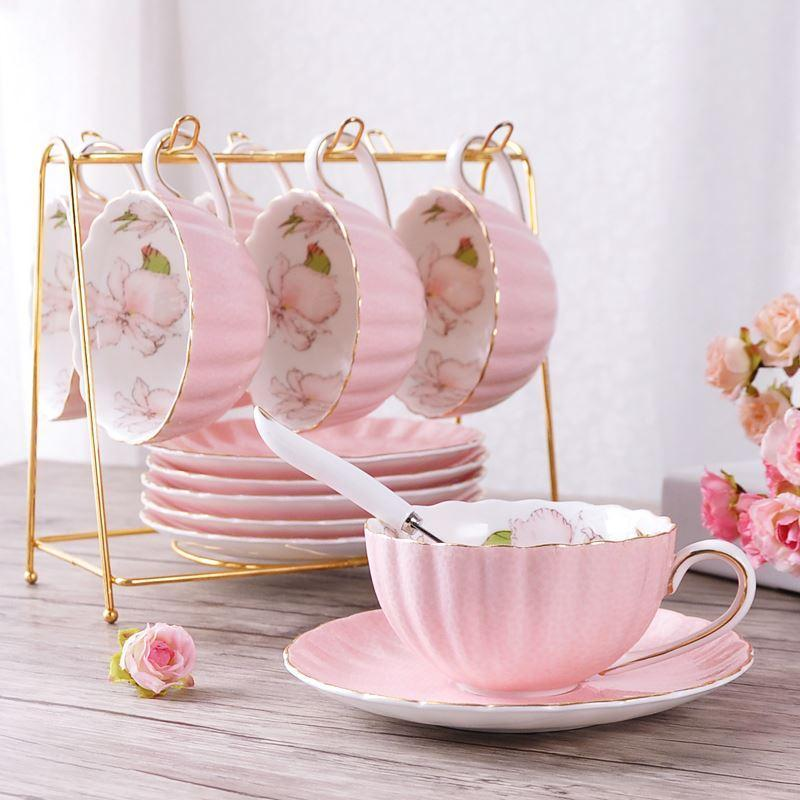 2019 1pcs British Style High-Grade Bone China Coffee Cup Pastoral Afternoon Tea Ceramic Tea Black Tea Cup Dish Spoon Pumpkin Cup Pink Roma