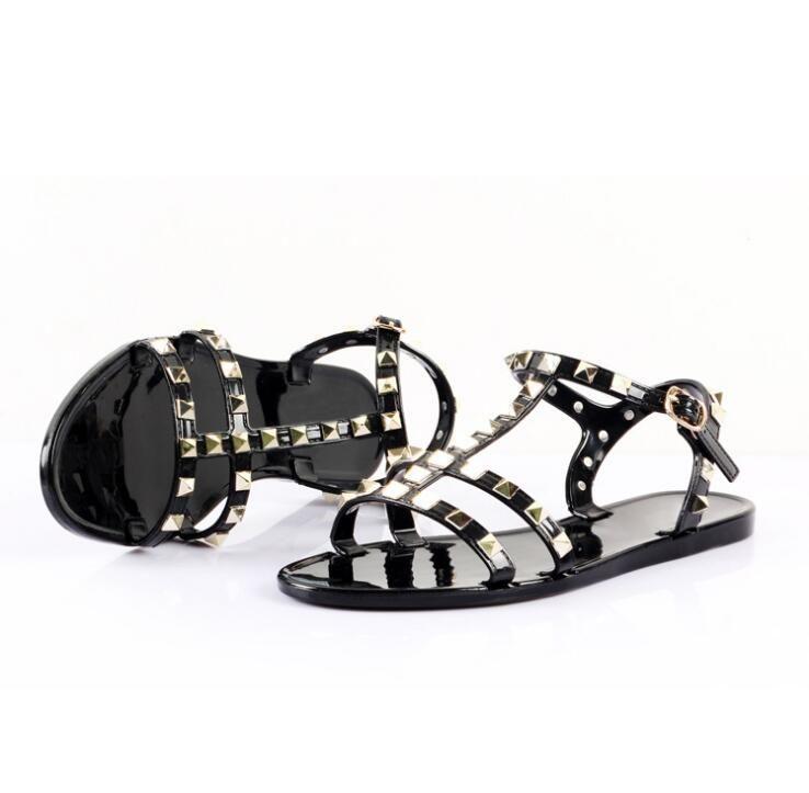 New 2018 Woman Summer Sandals Rivets big bowknot Flip Flops Beach Sandalias Femininas Flat Jelly Designers Sandals