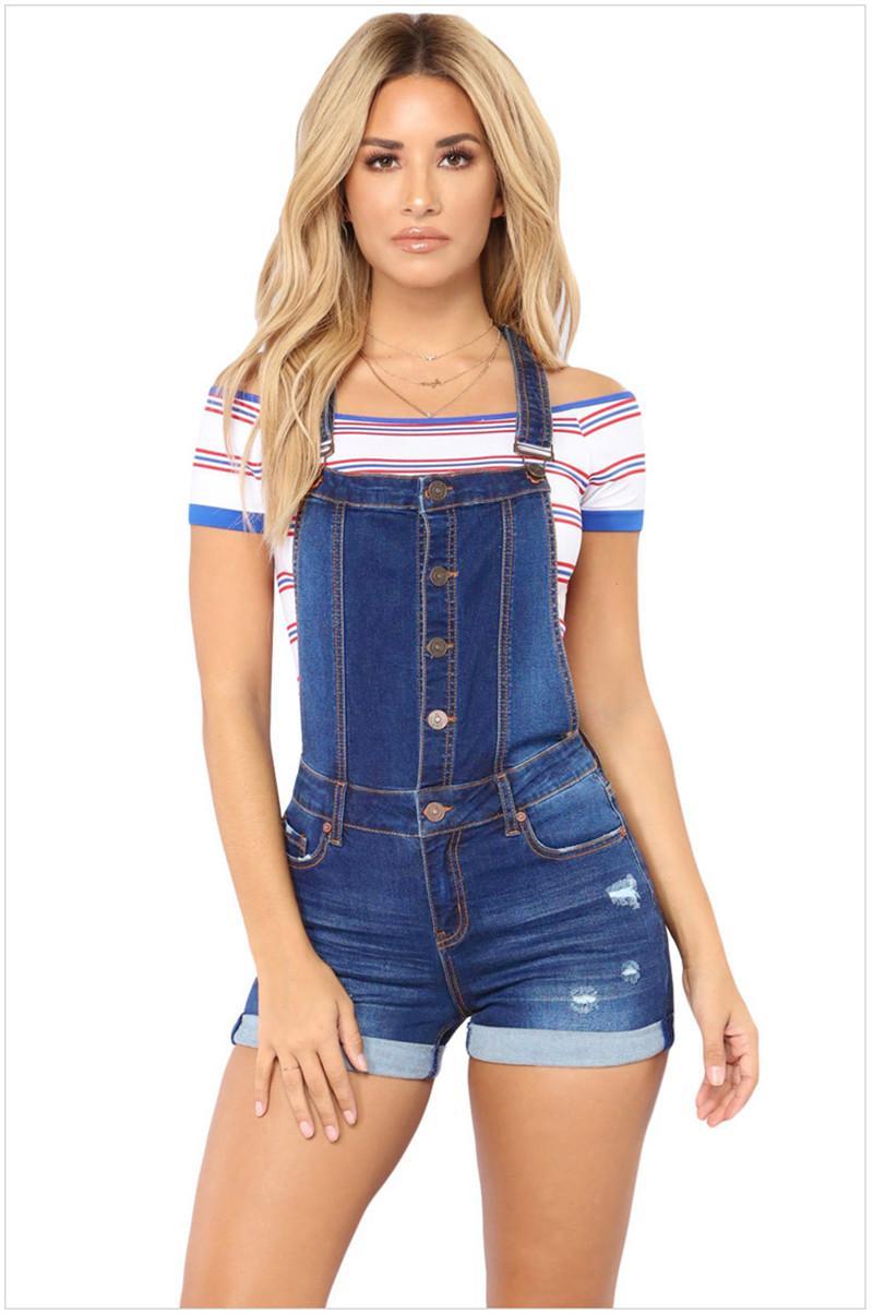Designer de Verão Womens Macacões friso magro Button Hole mediana cintura das mulheres Shorts Estilo Moda Vestuário Feminino