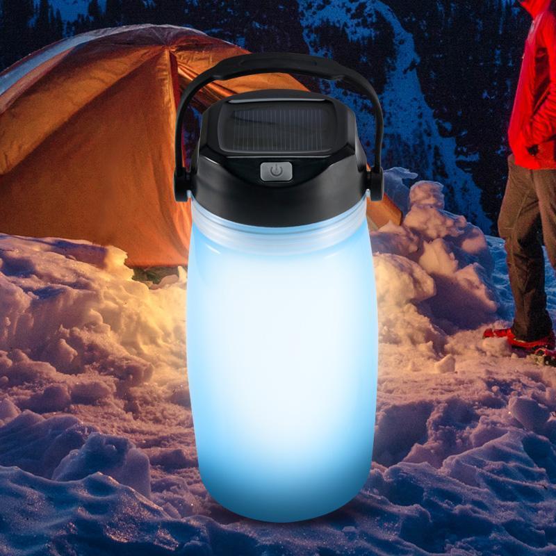 Multifunzionali esterni Bottiglie portatile ermetiche Water Bag Solar Charging luce creativa Sport Alpinismo Coppa Notte 3 colori bollitore
