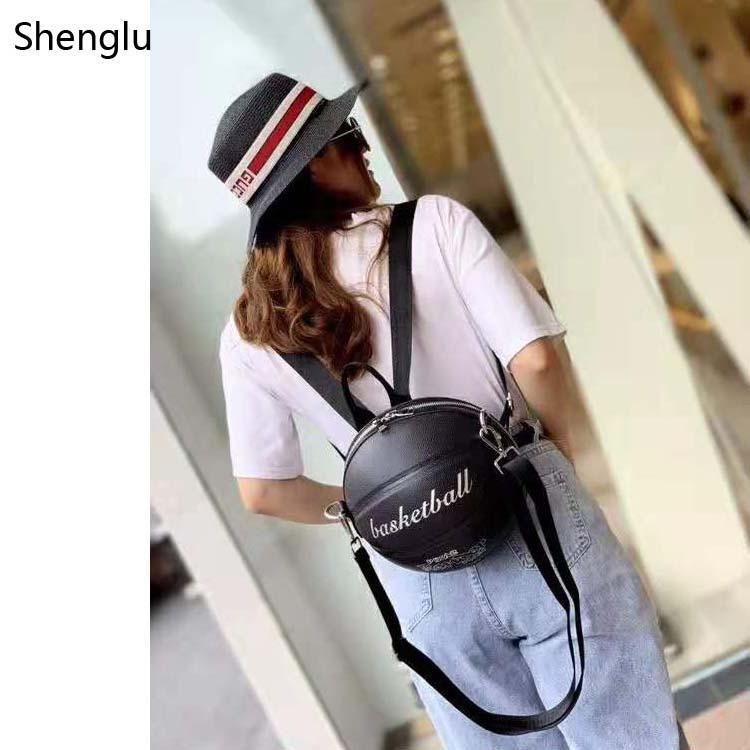 2020 Shenglu Designer Einzigartige Basketball geformte Handtasche Zurück Leder Messegner Tasche